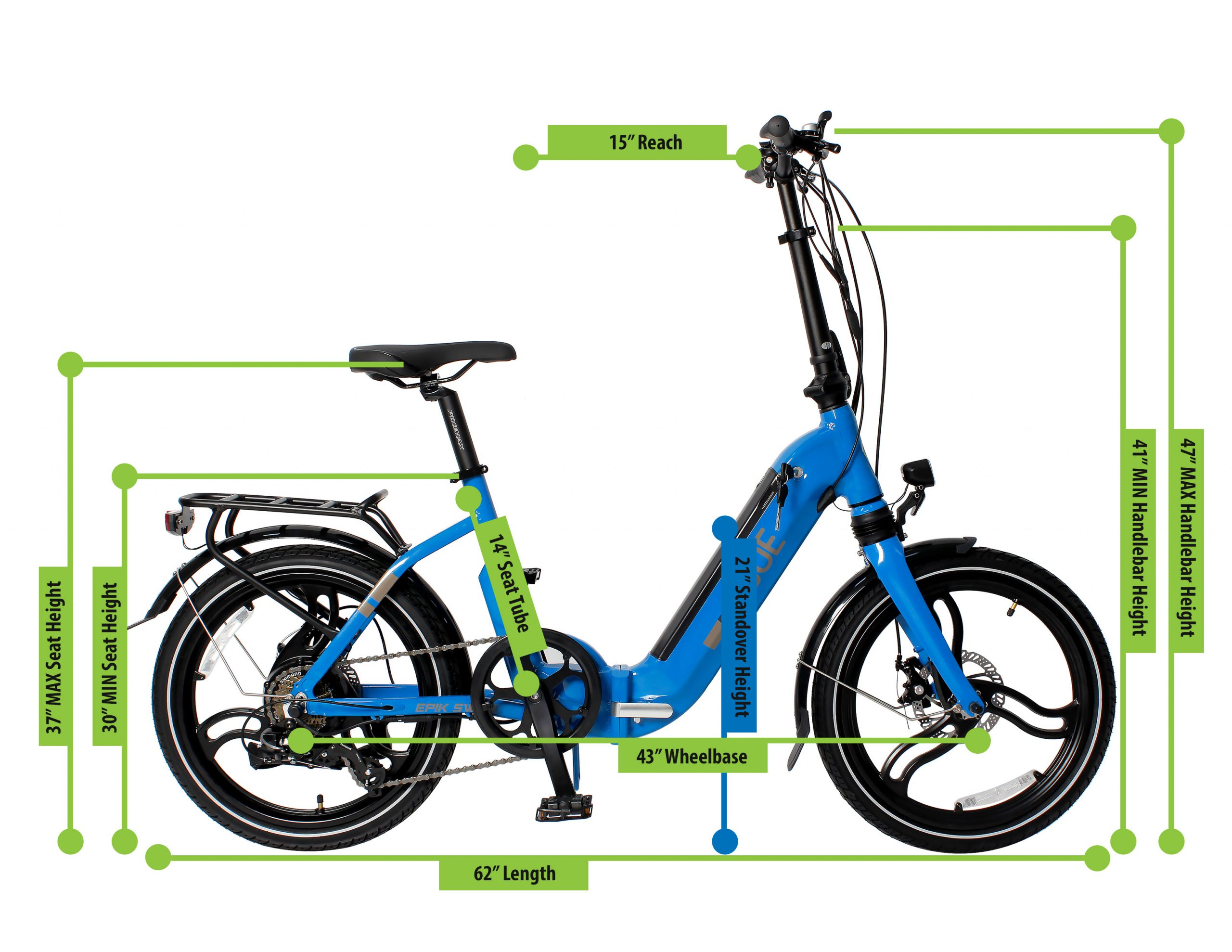 e-JOE EPIK Swan Step Through Folding Electric Bike, Size